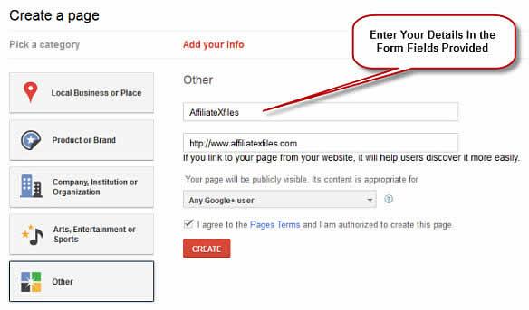 Enter Google+Page Details