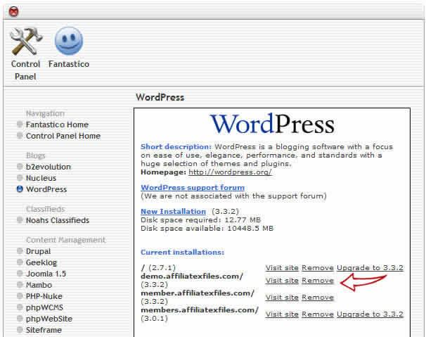 fantastico delete wordpress